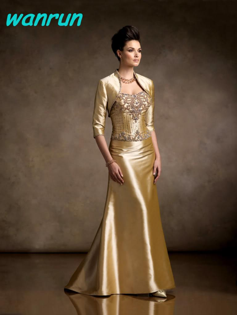 Free jacket gold strapless satin beads mother 39 s dresses for Golden dresses for a wedding