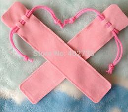 Wholesale Note Free Case - Wholesale-wholesale 100pcs velvet pen bag pen pouch pen case with rope for black ,blue ,red ,pink + free shipping