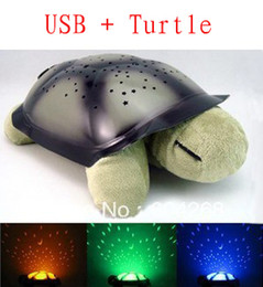 Wholesale Musical Toy Turtle Star - Wholesale-4 Colors Free shipping USB + Musical Turtle Night Light Stars Constellation Lamp Turtle Toys Without Box,1pc lot