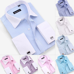 Wholesale Mens Shirts For Cufflinks - Wholesale-Free shipping mens shirt,new men's long sleeve casual shirts slim fit French cufflink dress shirts for men big size XXXXXL