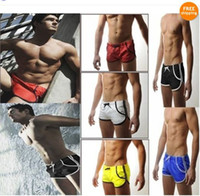 Wholesale Men Slim Fit Sexy Style - Wholesale-Hot New Styles Mens Swimming Swim Trunks Shorts Slim Super Sexy Swimwear Fit Clear Promotion 5 Colors 3 Sizes M L XL