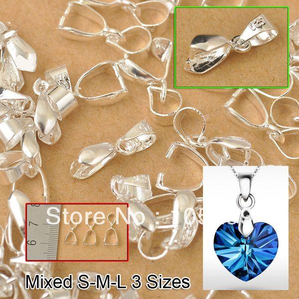 Al por mayor-24Hours Envío gratis 120PCS Tamaño de la mezcla S-M-L Resultados de la joyería Bail Connector Bale Pinch Broche 925 Sterling Silver Pendant