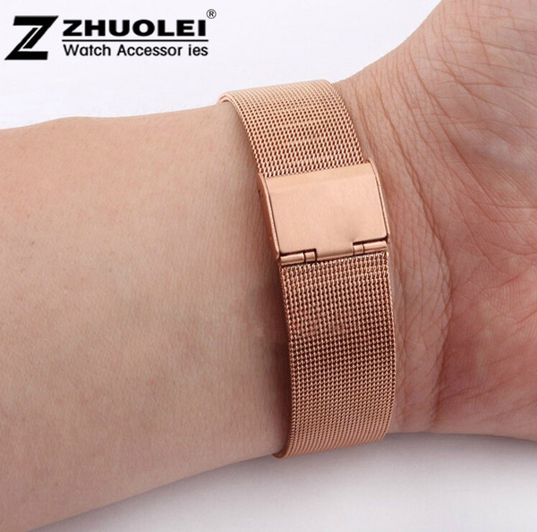Wholesale-New Lug Width 10mm 12mm 14mm 16mm 18mm 20mm 22mm 24mm Rose Gold Stainless Steel Mesh Watch Band Bracelet Strap 0.8 Wire Mesh