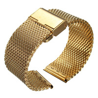 Wholesale Gold Mesh Buckle Bracelet - Wholesale-18-22mm Width Mens Lady Watch Strap Shark Mesh Chainmail Stainless Steel Bracelet Gold Silver Black Color