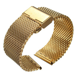 Wholesale Mens Watches Shark - Wholesale-18-22mm Width Mens Lady Watch Strap Shark Mesh Chainmail Stainless Steel Bracelet Gold Silver Black Color