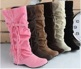 Wholesale Sexy Brown Heels - Wholesale-Free shipping ladies Tassels Nubbuck Knee High Heel Boots short winter fashion sexy sweet long women snow boot big size 34-43