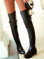 Wholesale Wedge Sexy Brown High Boots - Wholesale-Coolcept Women Fashion Sexy Long Over The Knee High Boot Flat Boots Shoes P9460