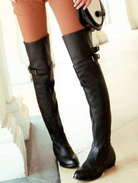 Wholesale Sexy Over Knee Flat - Wholesale-Coolcept Women Fashion Sexy Long Over The Knee High Boot Flat Boots Shoes P9460
