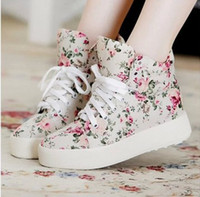 Wholesale Beige Sneaker Wedge - Wholesale-2015 new fashion women platform canvas sneakers floral print ankle boots shoes wedges shoes P5A104