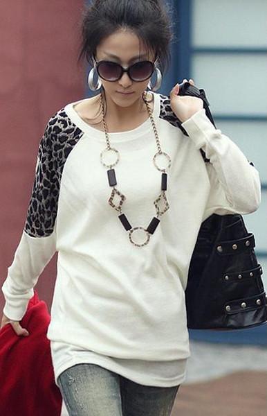 New Korea Women's Fashion Leopard Shoulder Batwing Sleeve Cotton T-shirt 3 Colors White