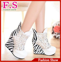 Wholesale Leopard Wedges Shoes - Wholesale-large size 43 sexy platform wedges high heel club shoes ladies patent leather glitter boots sexy leopard ankle boot AB490