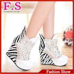 Wholesale White Platform Wedge Boots - Wholesale-large size 43 sexy platform wedges high heel club shoes ladies patent leather glitter boots sexy leopard ankle boot AB490