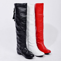 Wholesale White Flat Thigh High Boots - Wholesale-2015 New fashion sexy over knee boots motorcycle boots high leg Thigh boots riding boots flat Cosplay long boots EU size 34-47