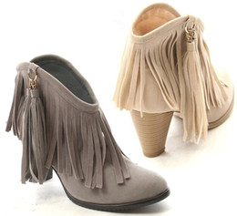 Discount Fringe Wedge Ankle Boots | 2017 Fringe Wedge Ankle Boots ...