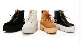 Wholesale Thick Punk Boots - Wholesale-Botas Femininas Real 2015 Spring New Korean Cross Straps Heavy-bottomed Boots Muffin Punk Martin Thick with High-heeled