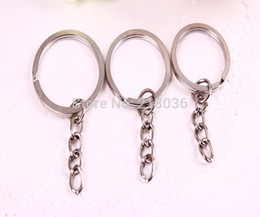 Wholesale Vintage Key Charms - Wholesale-50 pcs Fashion Vintage Plated Silver Flattening Charms Keychain Fit DIY Car Key Chains Ring 25mm DIY Jewelry Findings L393