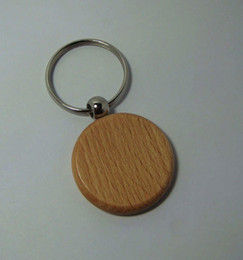 Wholesale Steel Key Blanks - Wholesale-50pcs Engrave DIY Round Blank Wooden Key Chain Circle Carving Key Tags 1.6'' -Free Shipping