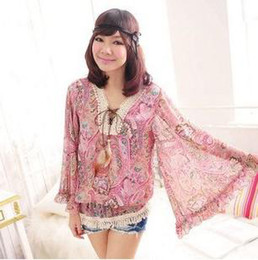 Wholesale Hot Pink Chiffon Blouse - Hot Autumn Women's Blouses V Neck Lantern Sleeve Lace Chiffon Shirt