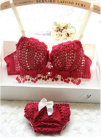 Wholesale Korean New Sexy Lingerie - Wholesale-New Japanese and Korean style young girls luxury festive burgundy push up underwear sets sexy hollow lingerie set women Bra sets