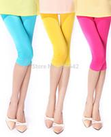 moda neon şeker toptan satış-Toptan-Moda Şeker renk Neon Tayt Bayanlar Dikişsiz Katı Streç Skinny Buzağı Legging Yarım Pantolon Kırpılmış