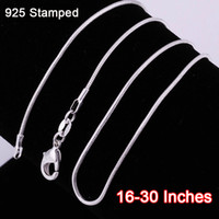 Wholesale Diy Silver Chains - Wholesale-Wholesale 16-30 Inches 20PCS Snake Necklace Chains 1.2MM Real 925 plated Silver Findings DIY Jewelry Hot
