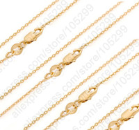 Wholesale Solid Gold Jewelry Wholesalers - Wholesale-Bulk 10PCS 30 Inch 18K Solid Yellow Gold Filled Jewelry Rolo Link Necklace Chains + Lobster Clasps For Pendant 18K-GF Tag Marked