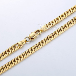 Wholesale Double Curb Chain - Wholesale-4.5mm Flat Double Curb Necklace Mens Womens Chain 18K Gold Filled Necklace 18KGF High Quality 47.7cm Jewelry Gift GN206