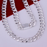 """Wholesale Sterling Mens Necklace - Wholesale-Hot 925 Sterling Silver 10mm 24"""" Flat Chain Necklace Mens Necklace.FreeshippingCN011-3"""