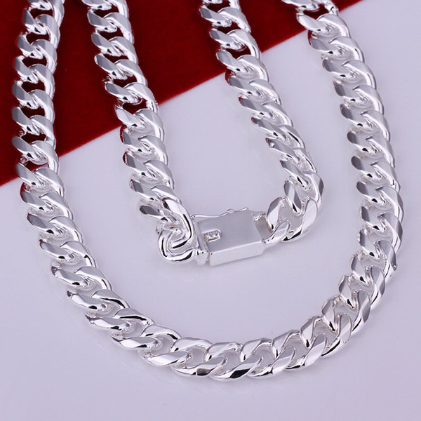 """Wholesale-Hot 925 Sterling Silver 10mm 24"""" Flat Chain Necklace Mens Necklace.FreeshippingCN011-3"""