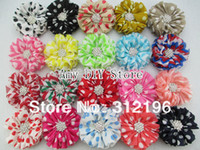 """Wholesale Head Flowers Clips - Wholesale-Free Shipping!50pcs lot 2.5"""" Chevron Ballerina Head Chiffon Flowers With Starburst Button&Hair Clips Baby Girls Hair"""