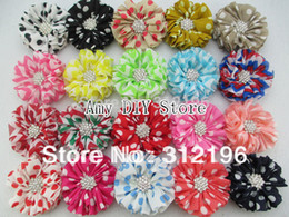 "Wholesale Chevron Flowers - Wholesale-Free Shipping!50pcs lot 2.5"" Chevron Ballerina Head Chiffon Flowers With Starburst Button&Hair Clips Baby Girls Hair"