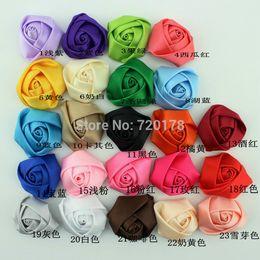 "Wholesale Hair Satin Ribbon Flower Head - Wholesale-100pcs lot,12Colors In stock,1.5"" Mini Satin Roses Flowers Heads Rosette Flowers For Hair Ribbon Rose Flowers DIY ,HBF43"
