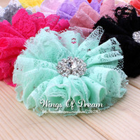 "Wholesale Shabby Chic Lace Flowers - Wholesale-(50pcs lot)2.8"" 15Colors Excellent Quality Artificial Chic Shabby Fabric Lace Mesh Flower Accessories+Alloy Rhinestone"