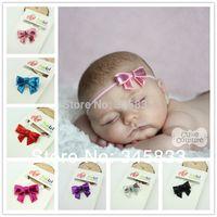 Wholesale Shine Hair Band - Wholesale-New 2015 shine sequin newborn bow headband,Baby Girl Head band,Baby Bow hair band hair accessories