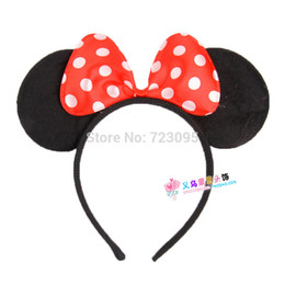 Wholesale Dress Up Costumes For Kids - Wholesale-10pcs Wholesale Kids   Children COSPLAY Minnie&Micky Mouse Costume Dress-Up Ears Headband for girls Halloween Free Shipping