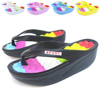 Wholesale Cheap Yellow Wedge Heels - Wholesale-Free shipping 2015 summer cheap women's shoes platform wedges slimming swing shoes sandals high heels hole shoes flip flops
