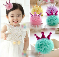 Wholesale Elegant Children Hair Accessories Wholesale - Wholesale-Baby Princess Crown Hairpin 12pcs Children chiffion Hair Clips Girls Hair Accessories For Party Elegant Head Pin Mixed 6 Colors