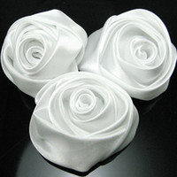 Wholesale Rolled Fabric Rosette Flowers - Wholesale-Free shipping handmade rolled rosettes Satin fabric Rose Flower - white 100 pieces lot