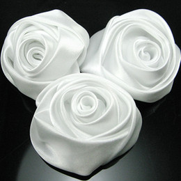 Wholesale Rolled Satin Flower - Wholesale-Free shipping handmade rolled rosettes Satin fabric Rose Flower - white 100 pieces lot