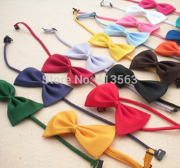 Wholesale Cat Ties - Wholesale-1pcs lot Multicolor Dog neck tie Dog bow tie Cat tie Pet grooming Supplies Pet headdress Bowtie ncektie 2015