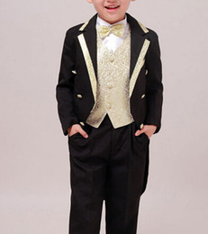 Wholesale Tuxedos For Wedding Party - Wholesale-5 Pieces Kids Tuxedo Boy Clothing Set 202 Tuxedos and Suits for Party Boys' Attire for Wedding Dress 100cm-170cm