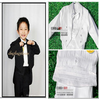 Wholesale Dress Suits For Little Boys - Wholesale-2015 Tuxedo boy 5 piece formal white  black suit for baby wedding sets a little child party dress 1 - 10 years old toddler 0774