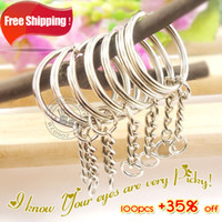 Wholesale Key Ring Links - Wholesale-100pcs Dia.25mm Split Keyring With 4 Link Chains+Small Jump Ring,Key Ring Chain Key Holder,Metal Keychain & Key Ring Accessory