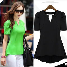 Wholesale Shirt Frill - Wholesale-New Fahion 2015 Chiffon Blouses & Shirts OL Womens Ladys Peplum Tops Frill Puff Sleeve Fitted Shirt V Neck Summer Holiday 1