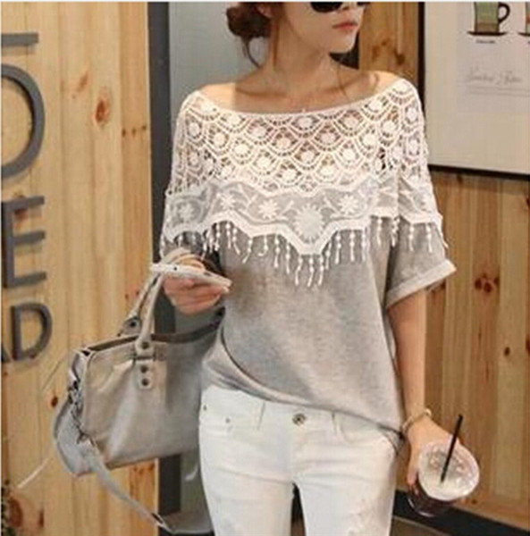 top popular Wholesale-Plus Size S-5XL 2015 New Fashion Women Lace Blouse Shirt Ladies Casual Summer Tops Hollow Crochet Shawl Collar Sheer Blouses 2021
