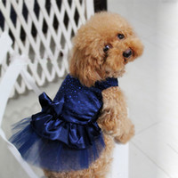 Vente en gros-FreeShipping Dog Puppy Wedding Party Lace Skirt Vêtements Bow Tutu Princess Dress Pet Clothing DropShipping