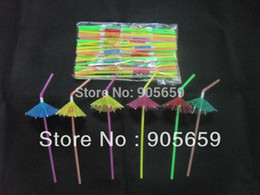 $enCountryForm.capitalKeyWord NZ - Wholesale-(6000 pcs lot) 9.4'' 24cm eco-friendly solid color plastic drinking straws with paper umbrellas Cocktail straws