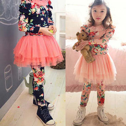 Wholesale Culottes Leggings - Wholesale-Kids Baby Girls Culottes Floral Leggings Tutu Skirts Tulle Gauze Pants Skirts 2-7 Free&DropShipping