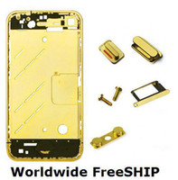 Wholesale Gold Iphone Mid Frame - Wholesale-FOR IPHONE 4 Plating GOLD COLOR FRAME CHASSIS MID MIDDLE HOUSING Worldwide FreeSHIP