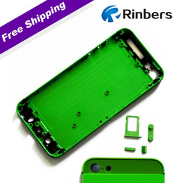 Wholesale Iphone Back Glass Bezel - Wholesale-For iPhone 5 Green Green Glass Empty Alloy Metal Back Cover Housing Replacement + Mid Frame Bezel Chssis, LOGO&Writings